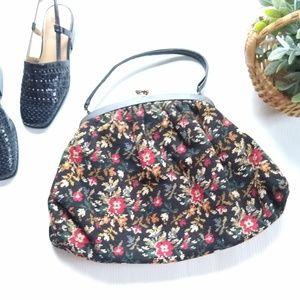 Vintage floral textured tapestry handbag clutch